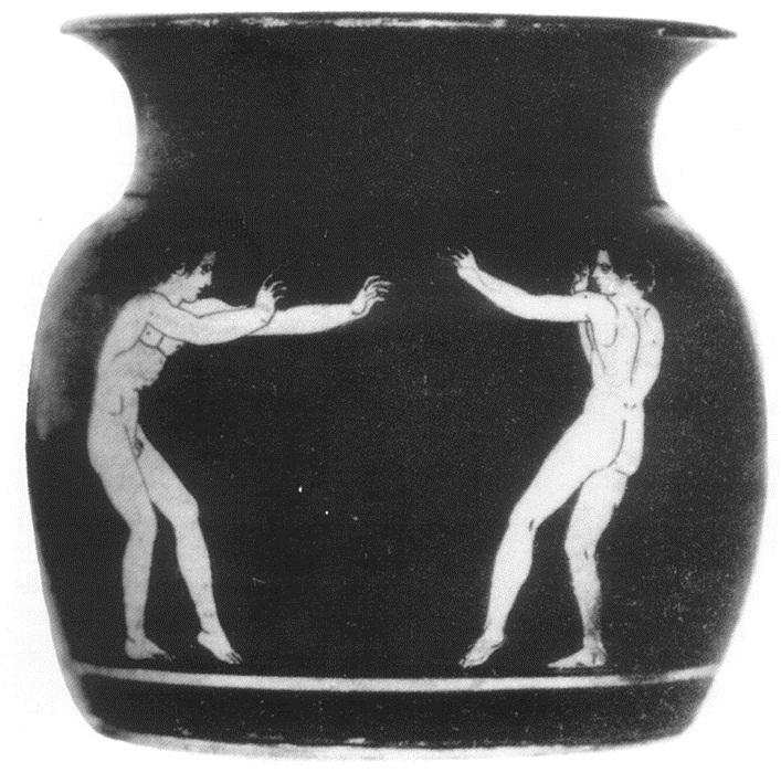 Na tej antični vazi (7.st.p.n.š.) je vidna pankracijski predborilni stav, danes znan kot mačji stav (nekoashi) v japonskem karateju (seveda v kimonih).
